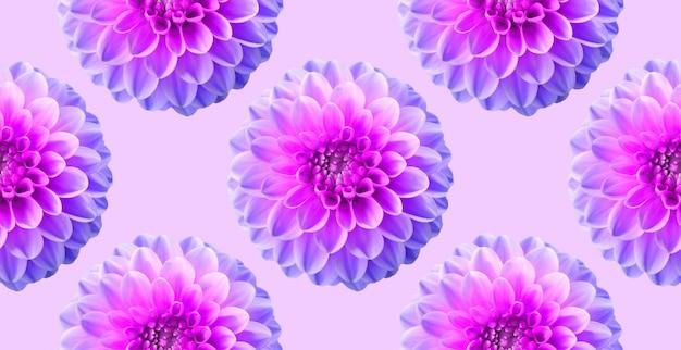 Neon chrysanthème sur fond de couleur rose. modèle sans couture. illustration artistique de collage. Photo Premium
