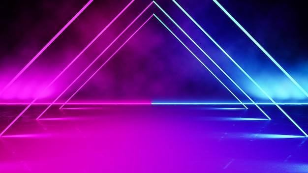 Néon en forme de triangle vide avec fumée Photo Premium
