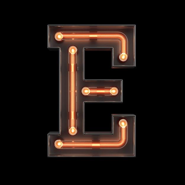 Neon Light Alphabet E Photo Premium