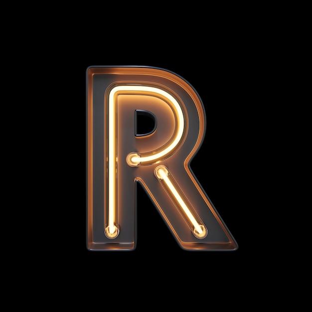 Neon light alphabet r Photo Premium