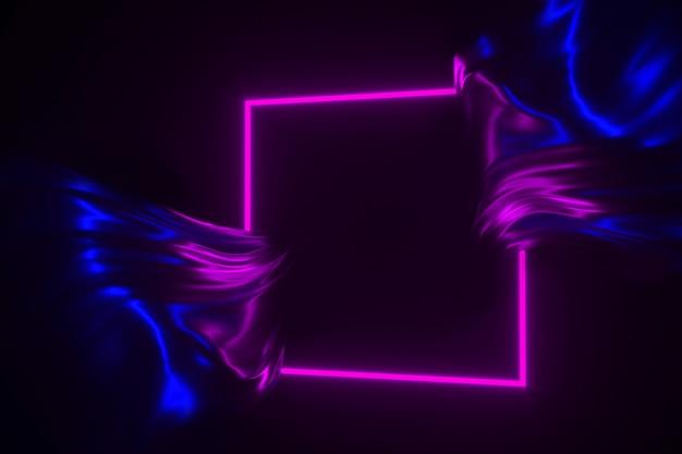 Néon lueur dans le cadre sombre et illustration 3d de tissu brillant qui coule Photo Premium