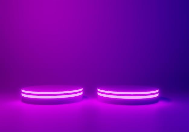 Neon stage ou podium fond, rendu 3d Photo Premium