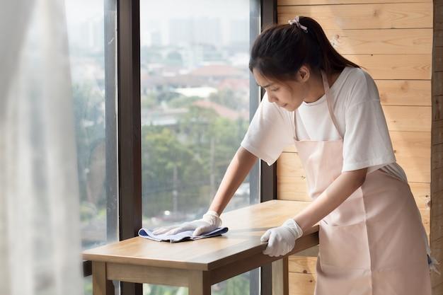 Nettoyant Femme Salon De Nettoyage, Photo Premium