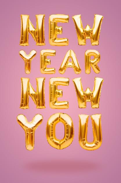 New Year New You Phrase Faite De Ballons Gonflables Dorés Sur Fond Rose, Nouveau Concept D'objectif. Photo Premium
