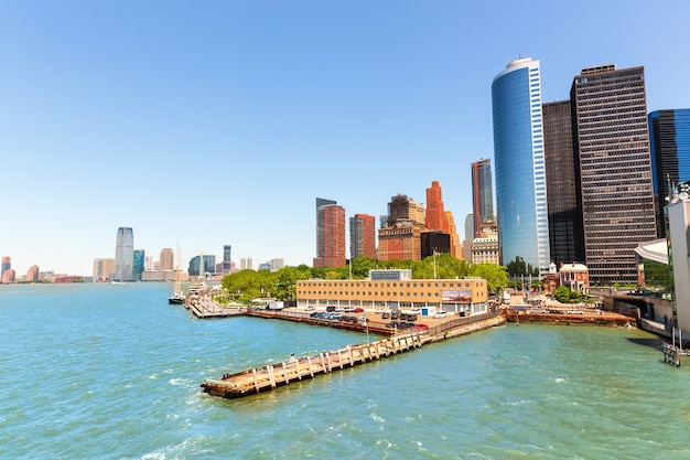 New York City Manhattan Vue Sur Le Centre-ville D'hudson Photo Premium
