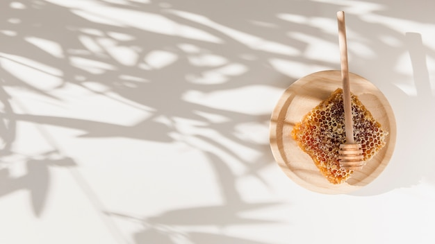 Nid d'abeille avec une louche de miel sur une plaque en bois sur l'ombre des feuilles sur le mur Photo gratuit