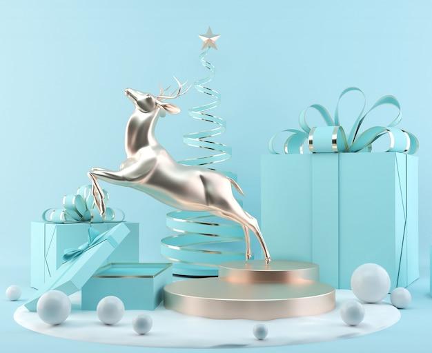 Noël Affichage De Podium Scène De Rendu Avec Les Objets De Noël Abstrait. Photo Premium