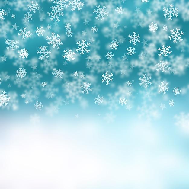 Noël fond des flocons de neige et étoiles Photo gratuit