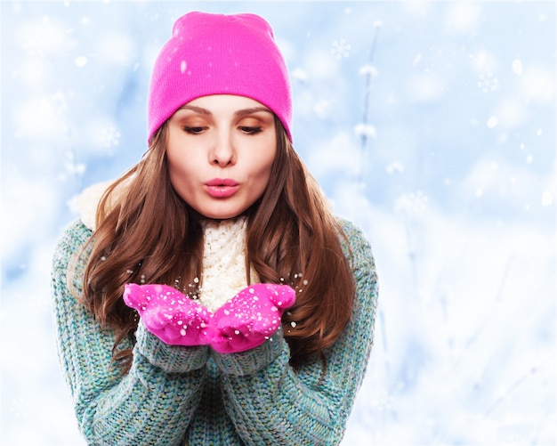 Noël girl.winter femme poudrerie Photo Premium
