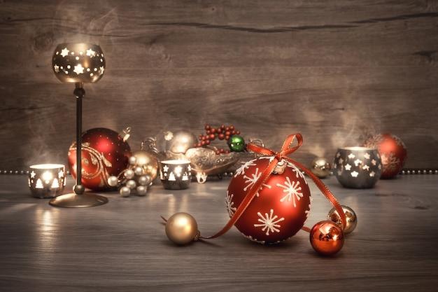 Noël Vintage Avec Bougies Et Décorations, Fond De Texte Photo Premium