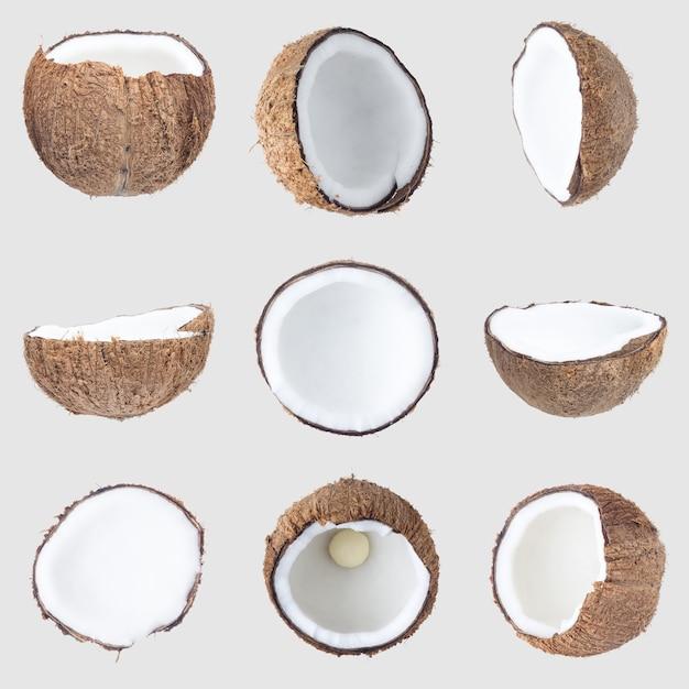 Noix de coco isolé sur gary chemin de détourage Photo Premium