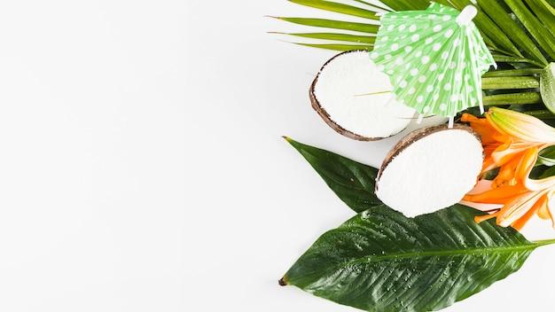 Noix De Coco Et Parapluie Cocktail Photo gratuit