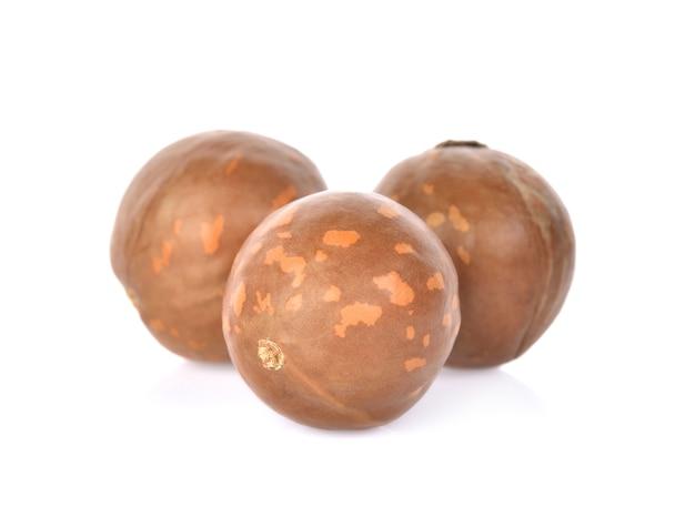 Noix de macadamia sur fond blanc Photo Premium