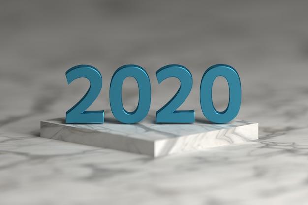 Nombre d'années 2020 en texture bleu métallique brillant sur un podium en marbre. carte de voeux de bonne année. Photo Premium