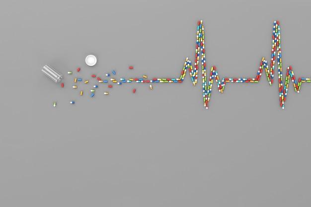 De nombreux comprimés dispersés sous la forme d'un cardiogramme du cœur du patient. illustration 3d Photo Premium
