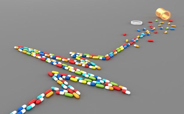 De nombreux comprimés dispersés sous la forme d'un cardiogramme du cœur du patient Photo Premium
