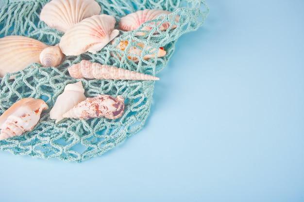 Nombreux coquillages et filets de pêche. vue de dessus. copyspace. Photo Premium