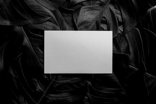 Note de papier blanc sur les feuilles dans le noir - style vintage Photo Premium