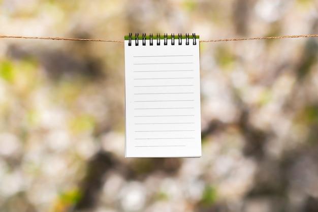 Notes de papier vierge avec espace copie épinglé sur une corde Photo Premium
