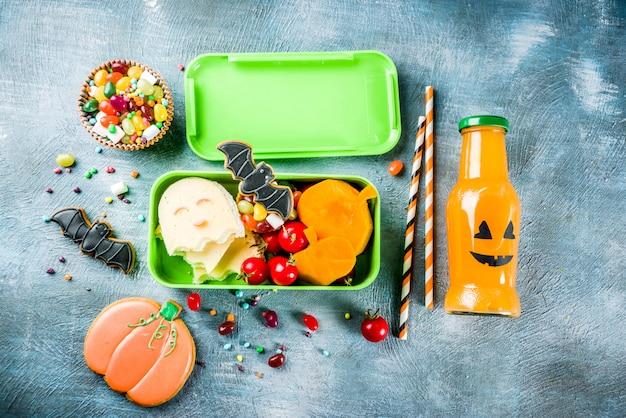 Nourriture halloween, boîte à lunch scolaire Photo Premium