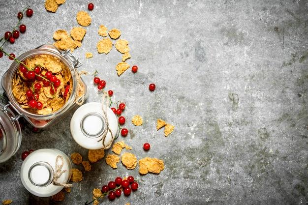 Nourriture De Remise En Forme. Muesli Aux Baies Et Lait Sur Table En Pierre. Photo Premium