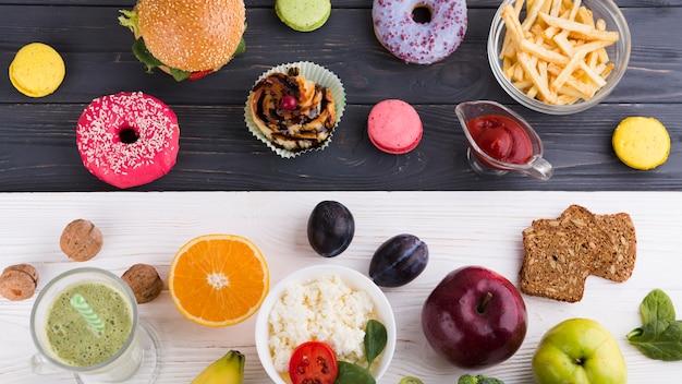 Nourriture saine et malsaine Photo gratuit