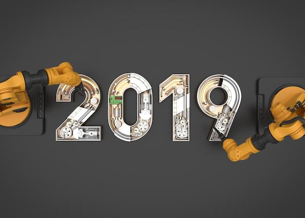 Nouvel an 2019 en alphabet mécanique avec bras robotisé Photo Premium