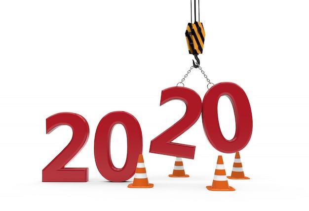 Nouvel an 2020 en construction Photo Premium