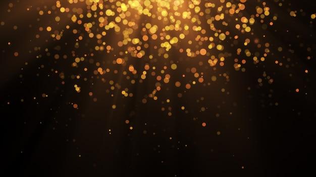 Nouvel An 2020. Fond De Bokeh. Résumé Des Lumières. Joyeux Noël En Toile De Fond. Paillettes D'or Lumière. Particules Défocalisées. Isolé Sur Fond Noir Recouvrir. Couleur Dorée Photo Premium
