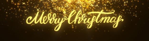 Nouvel an 2020. fond de bokeh. résumé des lumières. joyeux noël en toile de fond. paillettes d'or lumière. particules défocalisées. lettrage de noël. couleur dorée. vue panoramique Photo Premium
