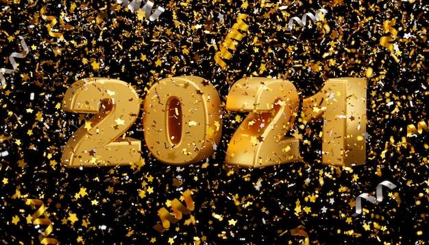 Nouvel An 2021 Et Confettis En Aluminium Tombant Sur Fond Noir Rendu 3d Photo Premium