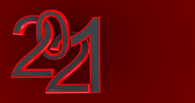 Nouvel An Noir Et Rouge 2021 Isolé Sur Rouge Photo Premium