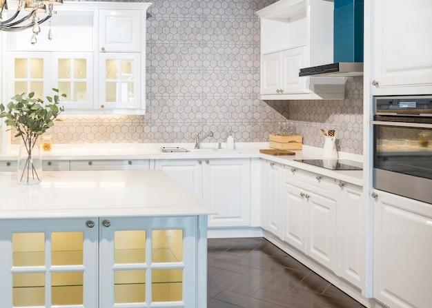 Nouvel intérieur moderne, lumineux et propre avec des appareils électroménagers en acier inoxydable dans une maison de luxe Photo Premium