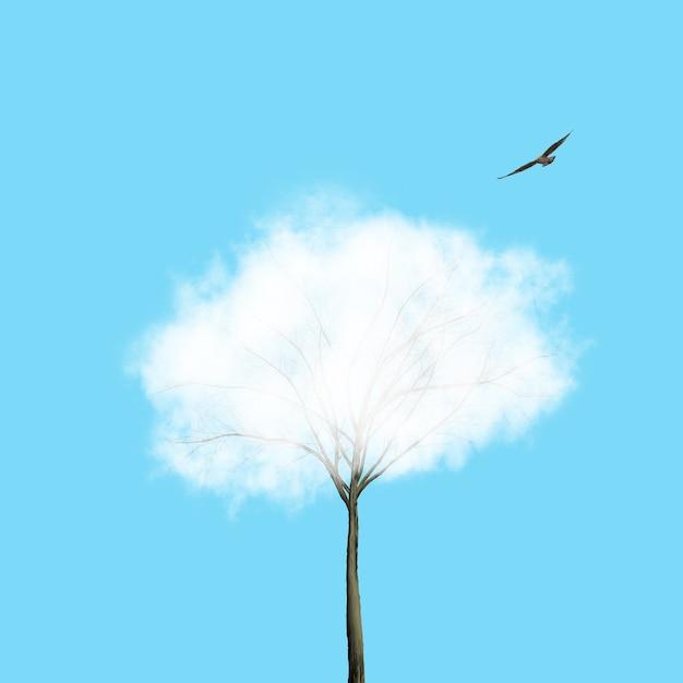 Nuage Blanc Comme Couronne De L'arbre Et Oiseau Volant Sur Fond Bleu. Place Pour Le Texte. Contexte écologique Pour La Croissance Et La Protection De L'environnement. Photo Premium