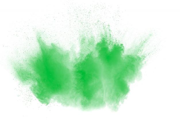 Nuage d'explosion de poudre de couleur verte Photo Premium