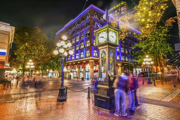Nuit, vue, historique, vapeur, horloge, dans, gastown, vancouver, colombie britannique, canada Photo Premium