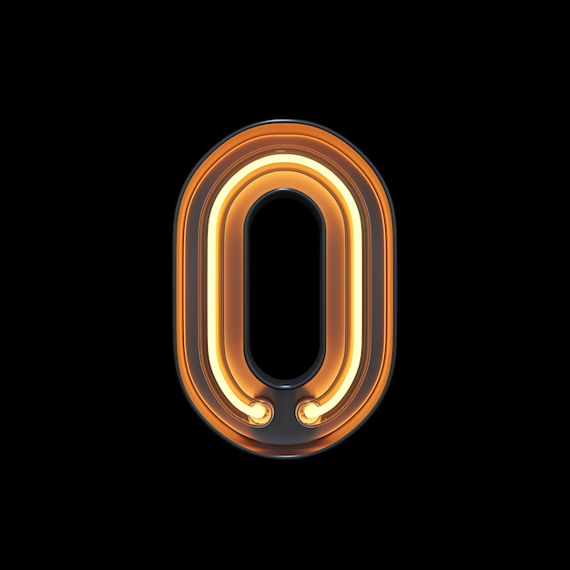 Numéro 0, alphabet fabriqué à partir de néon Photo Premium