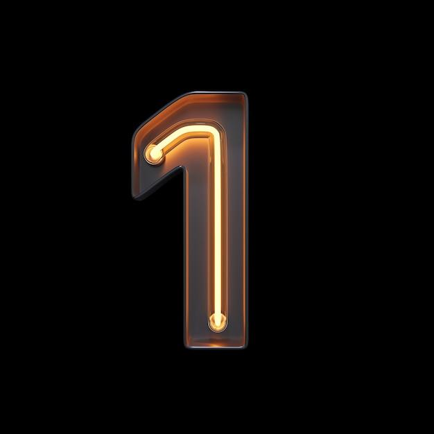 Numéro 1, alphabet fabriqué à partir de néon Photo Premium
