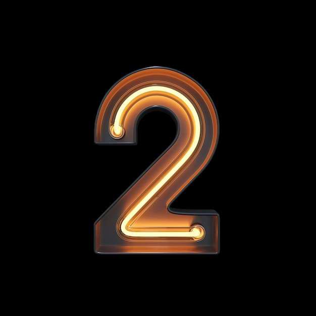 Numéro 2, alphabet fabriqué à partir de néon Photo Premium
