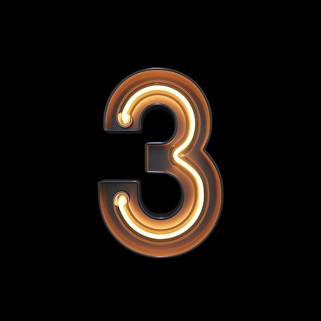 Numéro 3, alphabet fabriqué à partir de néon Photo Premium