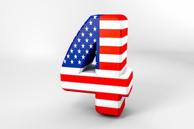 Numéro 4 avec le drapeau américain. rendu 3d - illustration Photo Premium