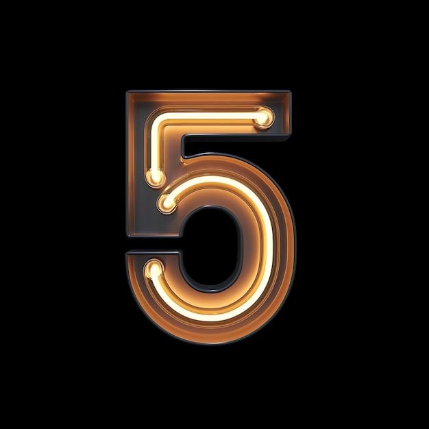 Numéro 5, alphabet fabriqué à partir de néon Photo Premium