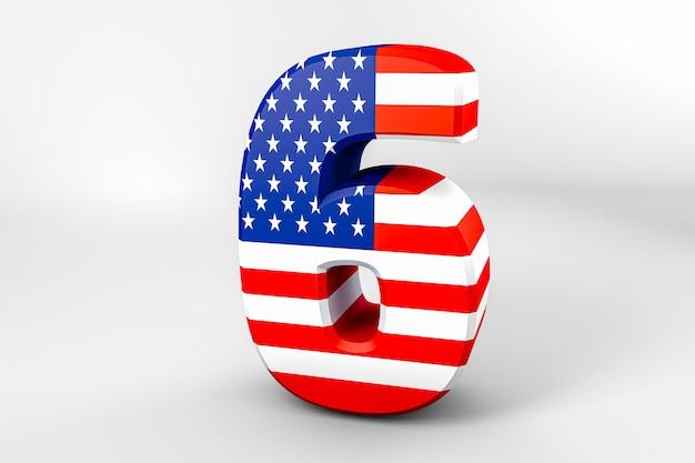 Numéro 6 avec le drapeau américain. rendu 3d - illustration Photo Premium