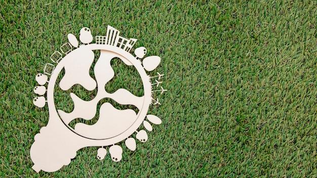 Objet En Bois De La Journée Mondiale De L'environnement Avec Espace Copie Photo gratuit