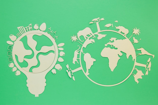 Objets En Bois De La Journée Mondiale De L'environnement Plat Photo gratuit