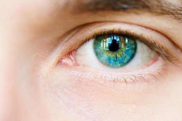 Oeil bleu d'un homme Photo Premium