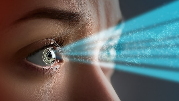 Oeil Féminin Se Bouchent Avec Des Lentilles De Contact Intelligentes Avec Des Implants Numériques Et Biométriques Photo Premium