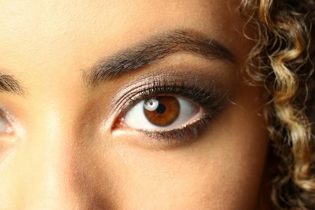 Oeil D'une Femme Noire Tourné Grande Beauté Macro Photo Premium