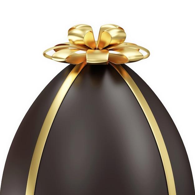 Oeuf De Pâques Au Chocolat Avec Golden Bow Isolé Sur Fond Blanc Photo Premium