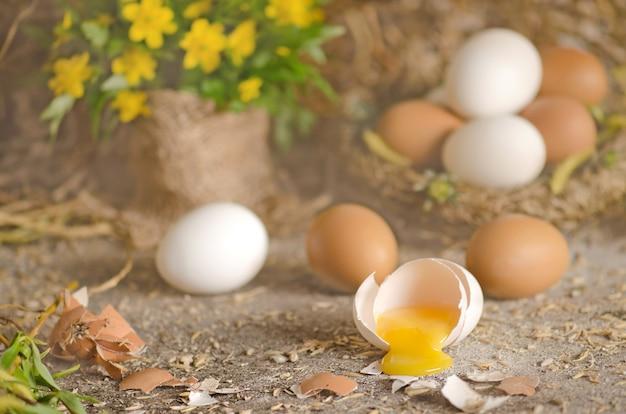Oeufs frais en paille avec fond en bois rustique. jaune d'oeuf de poule cassé Photo Premium